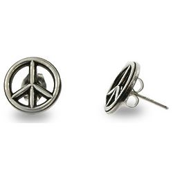 Bali Style Peace Sign Silver Stud Earrings