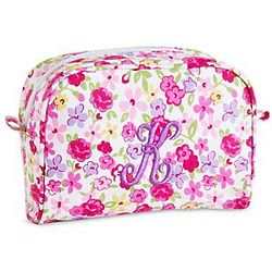 Pink Flower Personalized Small Cosmetic Bag
