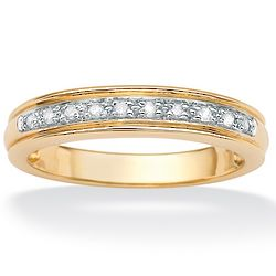 Men's Round Diamond 10K Yellow Gold Anniversary Ring