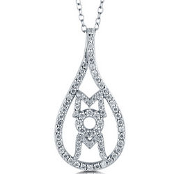 CZ Sterling Silver Tear Drop Shaped Mom Script Pendant