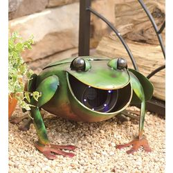 Recycled Metal Frog Sculpture with Fly and Mosquito Trap