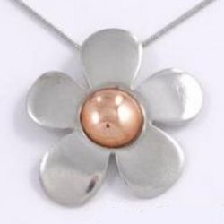 Five Petal Copper and Pewter Flower Pendant