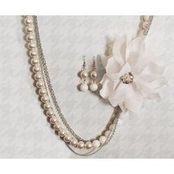 Faux Pearl Dual Color Necklace & Earring Set