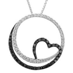 Circle of Love Black and White Diamond Pendant in Sterling Silver