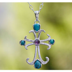 Belief Turquoise and Amethyst Cross Necklace