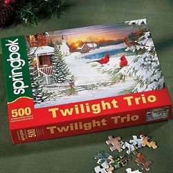 Twilight Trio of Birds in Snow Puzzle