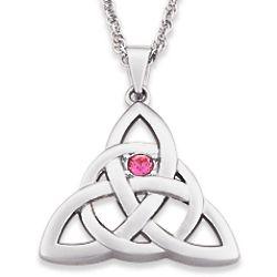 Silvertone Celtic Knot Crystal Pendant