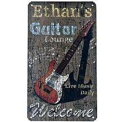 Personalized Guitar Lounge Rustic Metal Sign