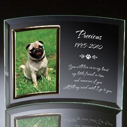 Pet Memorial Curved Glass Vertical Photo Frame