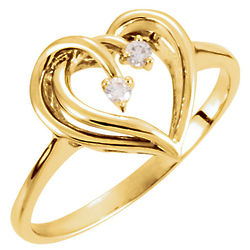 2 Gold Hearts As One Diamond Ring