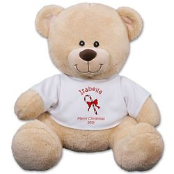 Personalized Christmas Candy Cane Teddy Bear
