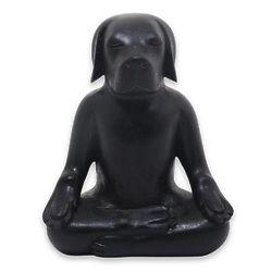 Yoga Beagle Wood Sculpture in Black