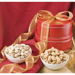 Giant Cashews and Colossal Pistachios Gift Tin Tower