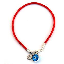 Red Evil Eye Bracelet in Sterling Silver