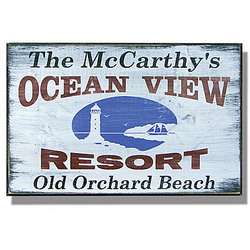 Personalized Vintage Ocean View Resort Sign