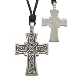 Engraved Pewter Celtic Cross Pendant