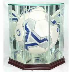 Engraved Glass Soccer Ball Display Case