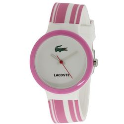 Pink and White Lacoste Watch