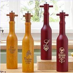 Personalized Wine Bottle Peppermill