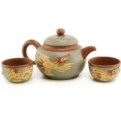 Phoenix and Dragon Yixing Tea Set