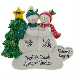 World's Best Aunt and Uncle Snow Couple Ornament