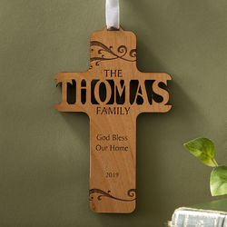 Personalized Bless Our Family Wooden Cross