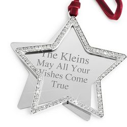 Engravabele CZ Swing Star Christmas Ornament
