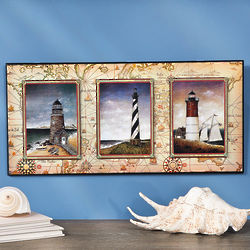 Lighthouses and Old World Map Print