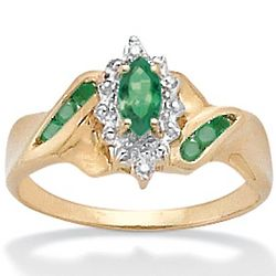 Marquise-Cut and Round Emerald Ring with Diamond Accents