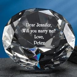 Engraved Diamond Crystal Paperweight