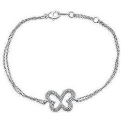 Round Cut Diamond Butterfly Bracelet in Sterling Silver
