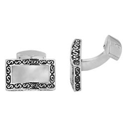 Gento Men's Stainless Steel White Shell Cuff Links