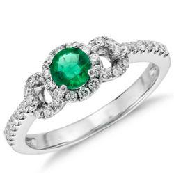Emerald and Diamond Ring in 14 Karat White Gold