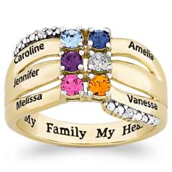 14K Gold-Plated Family Birthstone and Name Ring with Diamonds