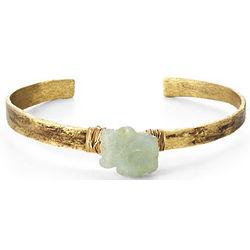 Aquamarine Gemstone and Birch Textured Cuff Bracelet