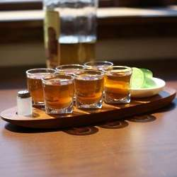 Engraved Wood Cantinero Shot Glass Serving Tray
