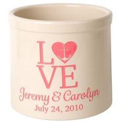 Personalized Love Anchor 2 Gallon Stoneware Crock