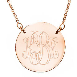 Engraved Monogram Rose Gold Disc Necklace with Rolo Chain