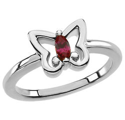 White Gold Butterfly Ring with Marquise Garnet Gemstone