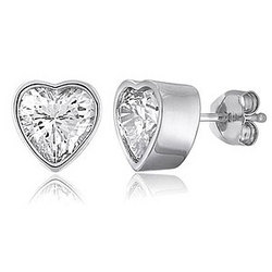 Sterling Silver Solitaire Heart CZ Stud Post Earrings