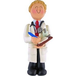 Personalized Blonde Male Doctor Ornament