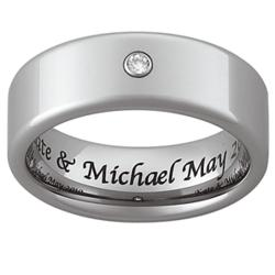 Men's Engraved Tungsten CZ Band
