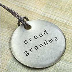 Proud Grandma Silver Disc Pendant Necklace