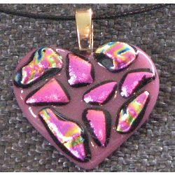Fused Pink Heart Shaped Pendant