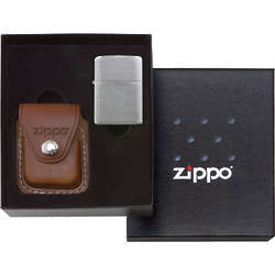 Zippo Windproof Crown Stamp Lighter with Leather Pouch