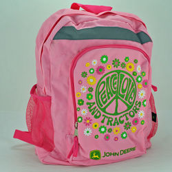 John Deere Pink Peace Love and Tractors Backpack