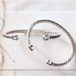 Sterling Silver Pink Tourmaline Birthstone Cuff Bracelet