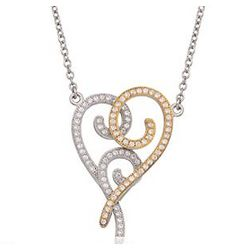 1.00ct CZ Heart Pendant Necklace in Two-Tone Silver