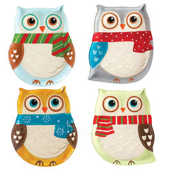 Snowy Owls Plate Set