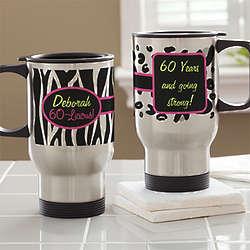Flirty-Licious Ladies Personalized Birthday Travel Mug